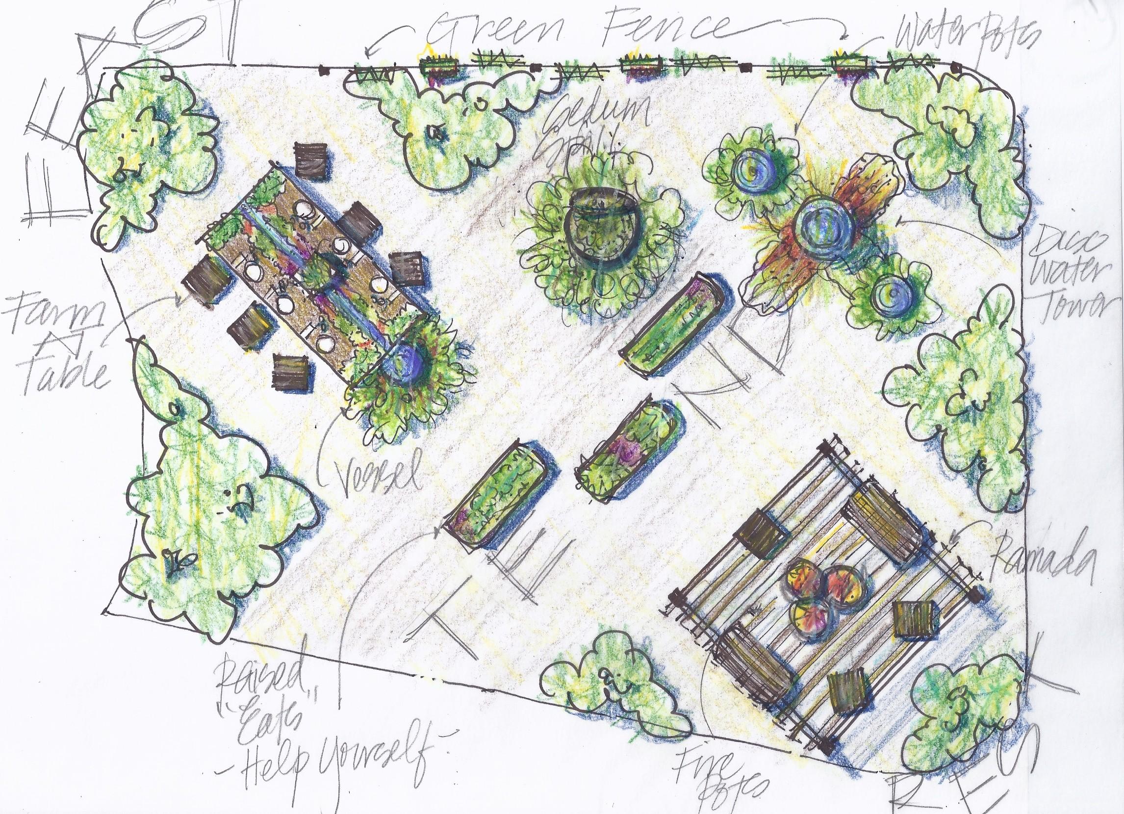 Farm at table garden display 2012 red bird design for Display home garden designs